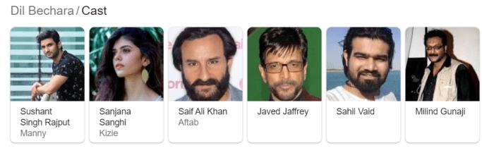 dil bechara cast