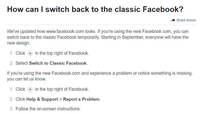 No Option To Switch Back To Classic Facebook or Missing