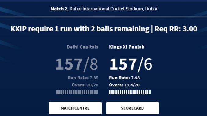 yesterday ipl match result 2020 DC vs KXP