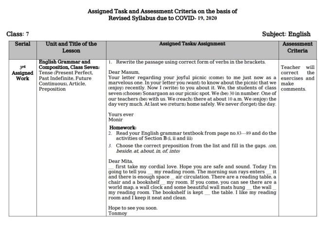 4th week assingment class 7 english grammar 2nd paper