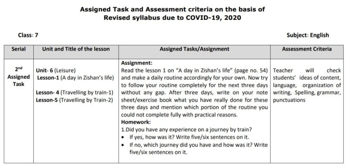class 7 english assignment answer