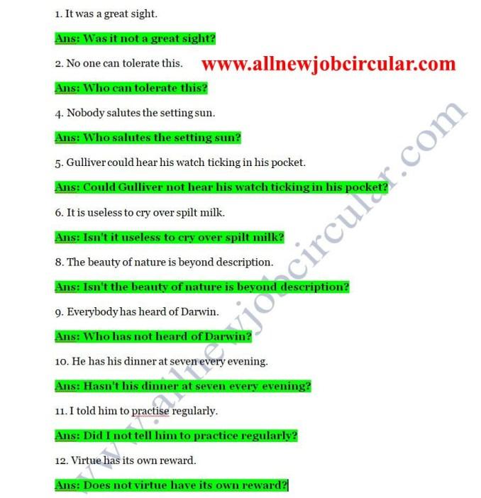english class 8 grammar 2nd paper answer
