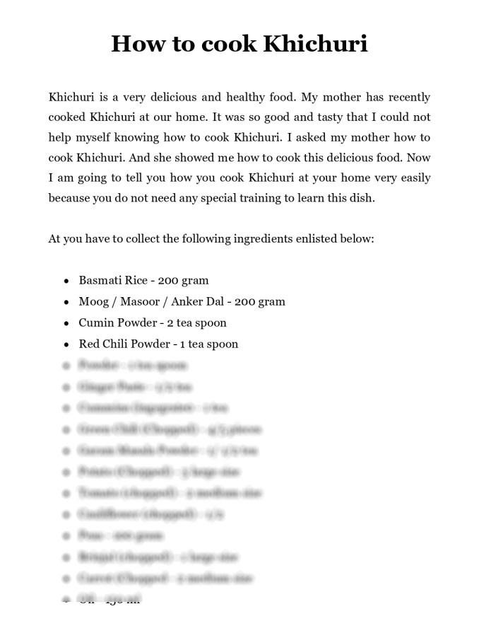 khichuri recipe assignment