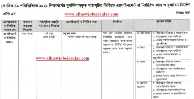 class 9 bangla assignment 2021