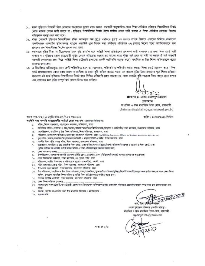 Rajshahi Board HSC Scholarship Result 2020 (1)
