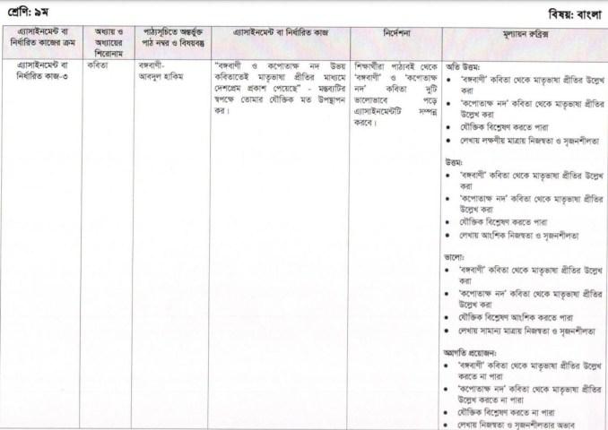 class 9 assignment bangla 8th week 2021