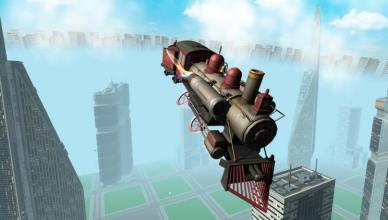 flying train simulator buildings