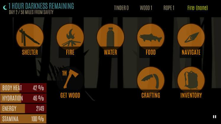 survive wilderness game interface