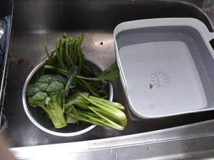 水に浸け置きした野菜を水切り