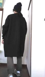 大きな服小さな服、濱田明日香さんのクルーネックブルゾン着画