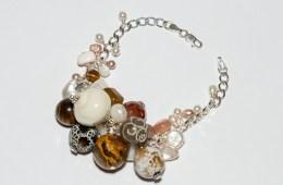 Bracelet Grappe Beige & Argent