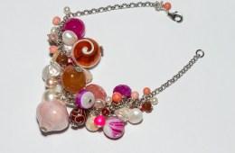 Bracelet Grappe Rose & Argent