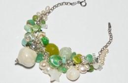 Bracelet Grappe Vert & Argent