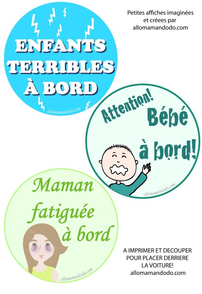 affichettes voiture bébé maman à bord
