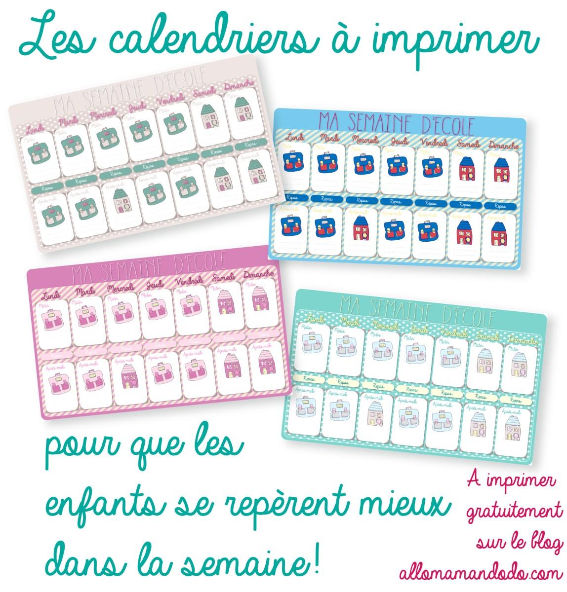 Le calendrier de la semaine d'école à imprimer! (Cadeau!)