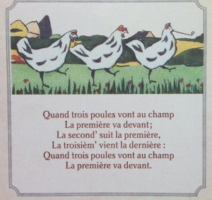 paroles quand trois poules vont au champ