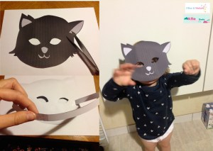 masque chat halloween papier