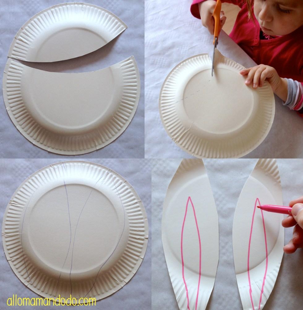 tuto etape sac lapin assiette carton