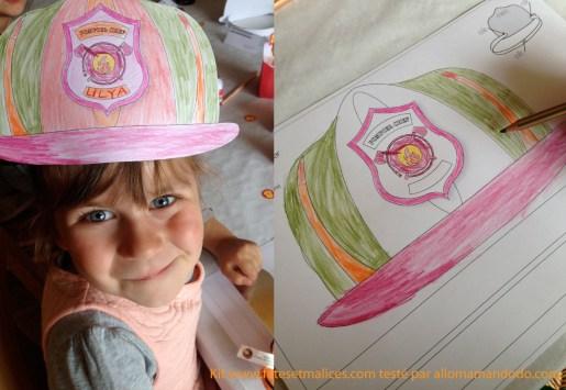 activité pompier anniversaire casque papier