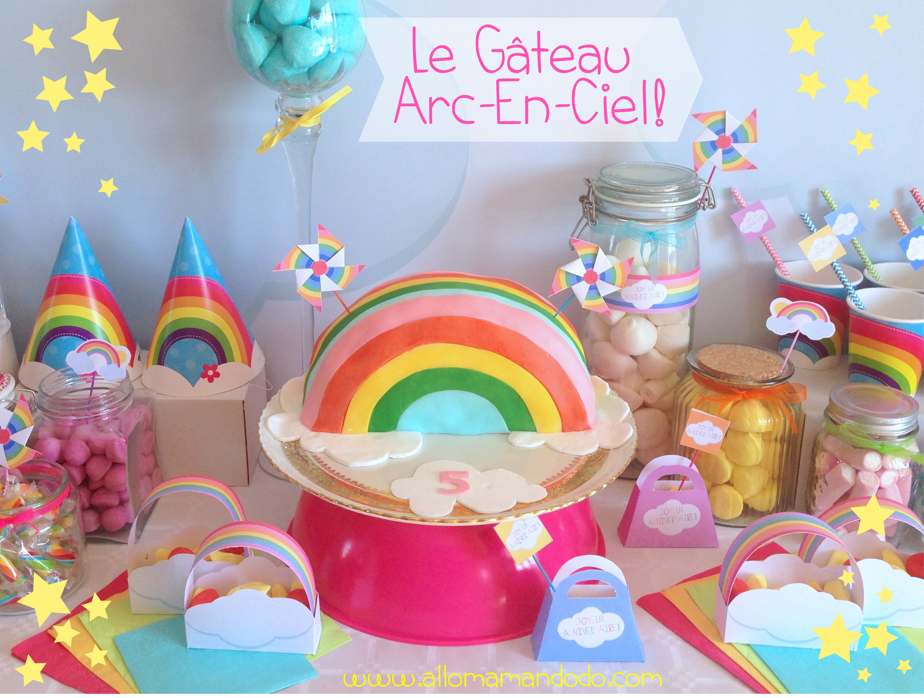 le g teau d 39 anniversaire arc en ciel rainbowcake diy allo maman dodo. Black Bedroom Furniture Sets. Home Design Ideas