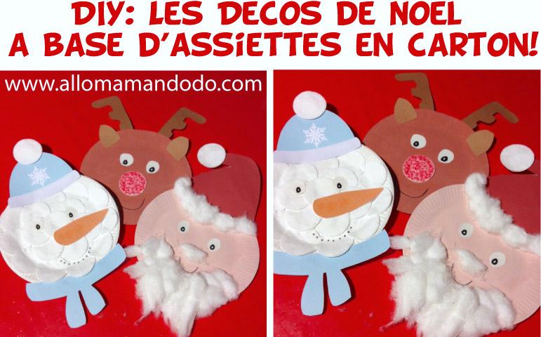 DIY enfant déco assiette carton père noel bonhomme de neige renne