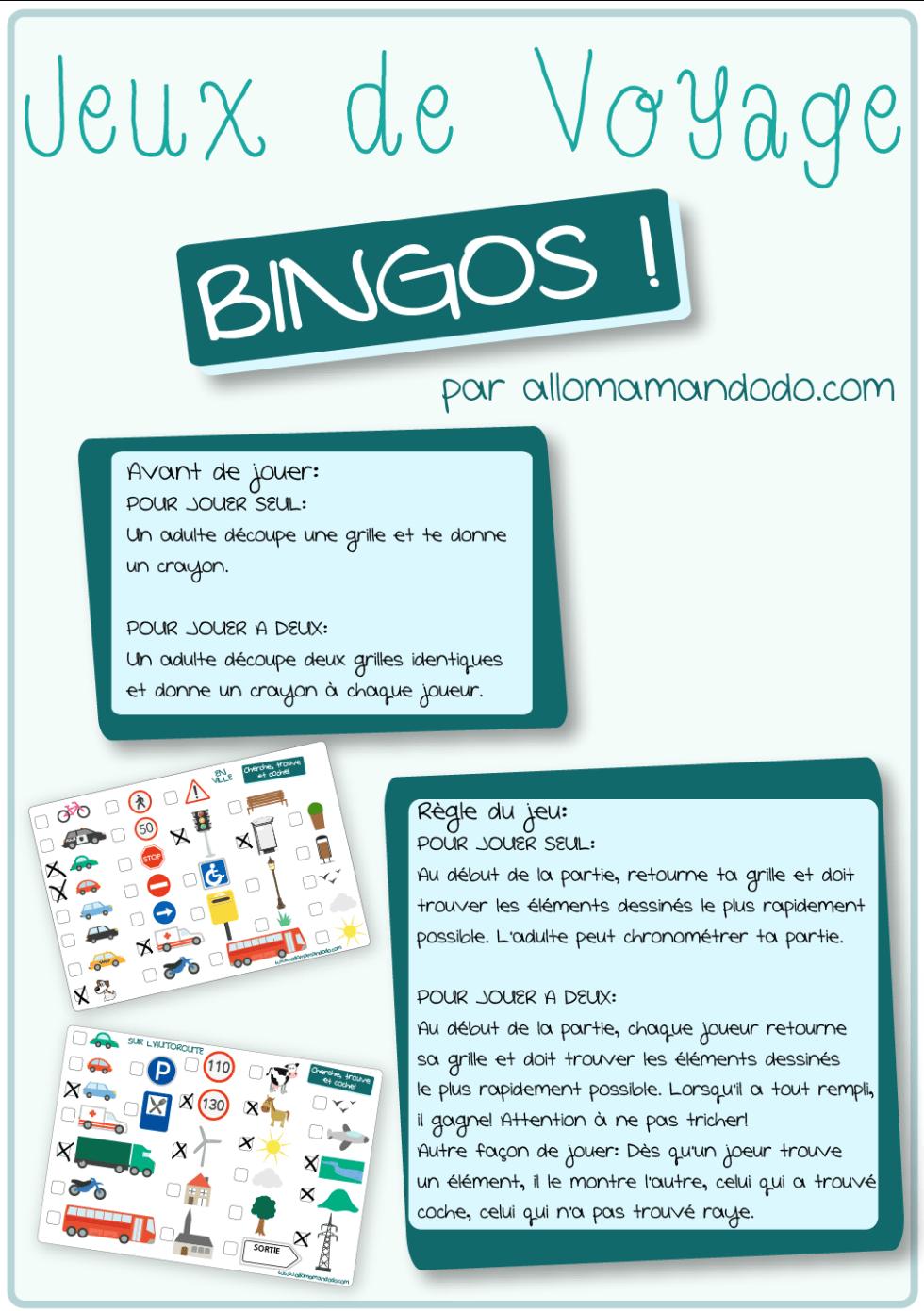 jeu voiture bingo route