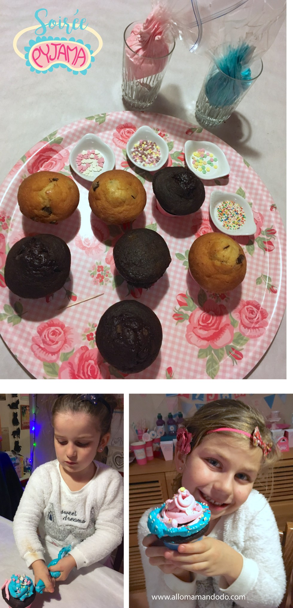 soirée pyjama déco cupcakes