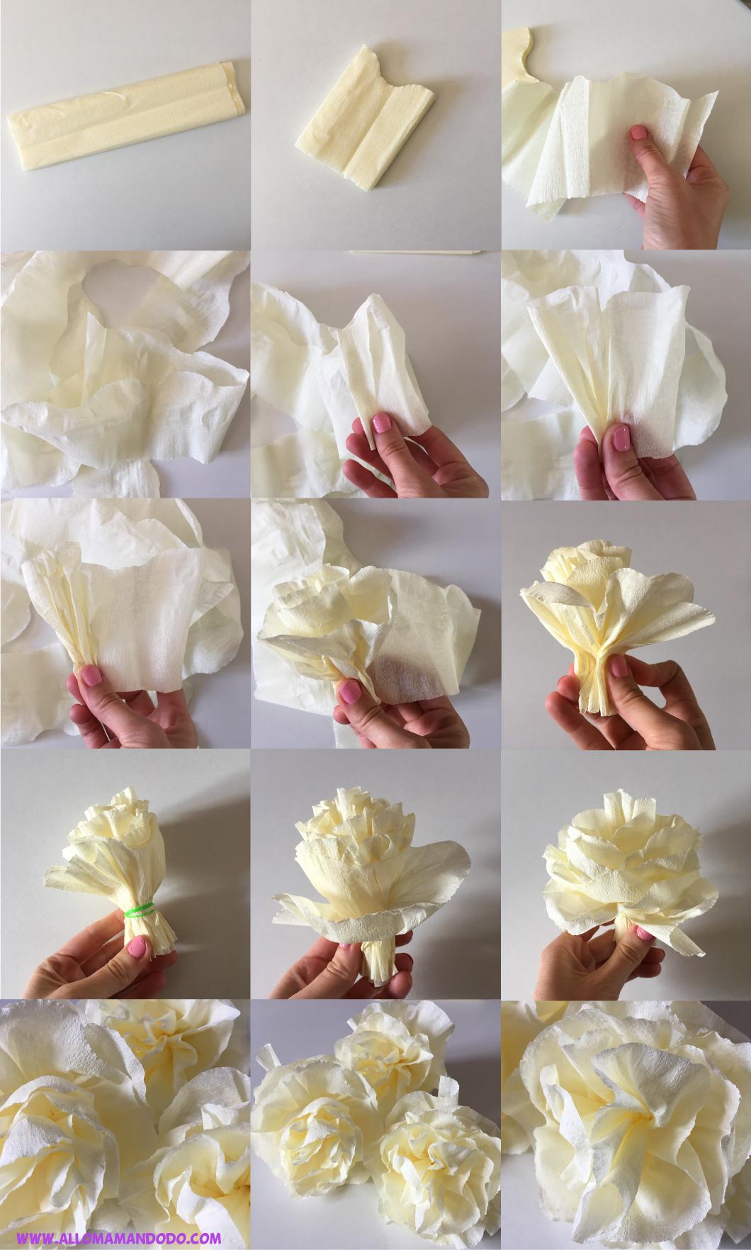 Diy Fleurs En Papier Crepon Tuto Photos Facile Allo Maman Dodo
