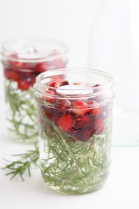 simple diy cranberry and rosemary tealights (via)