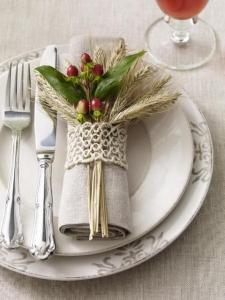 wheat sprigs napkin tie showcasing fall (via)