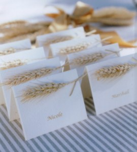 golden grain place cards (via)