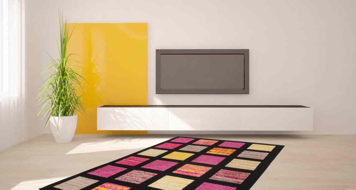 Tapis noir rectangulaire pour salon design Alanya