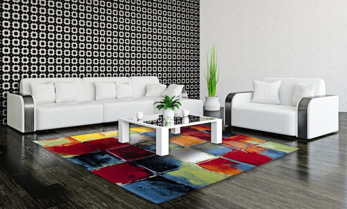Tapis moderne et multicolore de salon Bahia