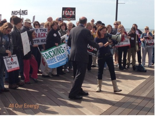 Adrienne Esposito of Citizen's Campaign for the Environment takes the megaphone.