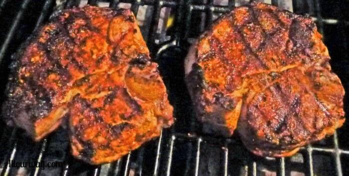 Gas grilled pork chops