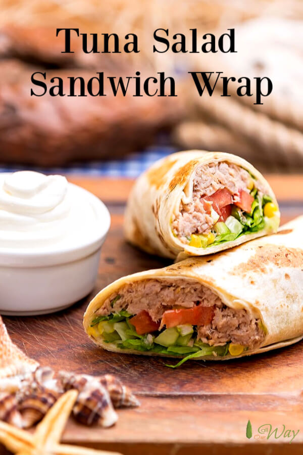 An excellent tuna salad recipe that starts that you can spice up to your taste. Works well in a wrap or slathered between slices of your favorite bread. This Tex-Mex version adds some corn and avocados. #tunasalad, #tunasaladsandwich, #tunasaladwrap, #tunawrap, #tunawraprecipe, #allourway