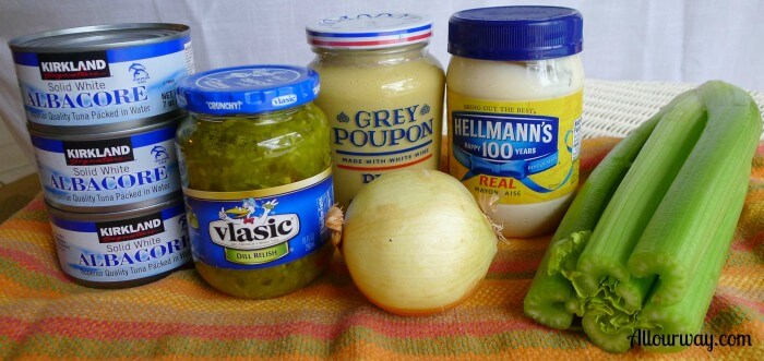 Ingredients for classic tuna salad, mustard, dill pickle relish, grey poupon, hot mustard, mayonnaise, onion, celery