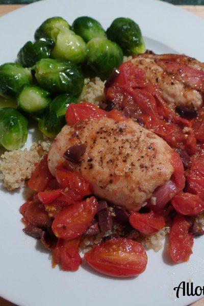 chicken, saltimbocca, organic, quinoa, roasted, grape tomatoes, Kalamata olives, Brussels spouts, lemon sauce , one-skillet