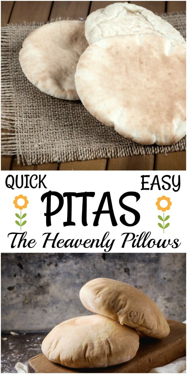 Quick and easy pitas are showcased on a burlap material and also on a dark brown cutting board on top of white gauze.