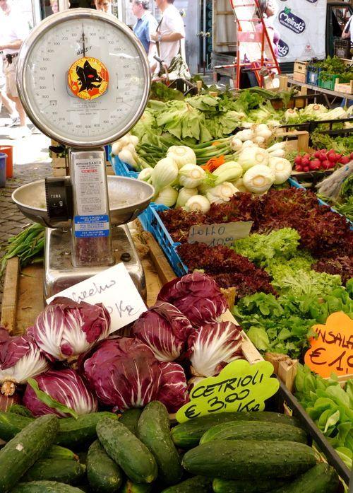 fresh, vegetable, market, Rome, Campo dei Fiorir