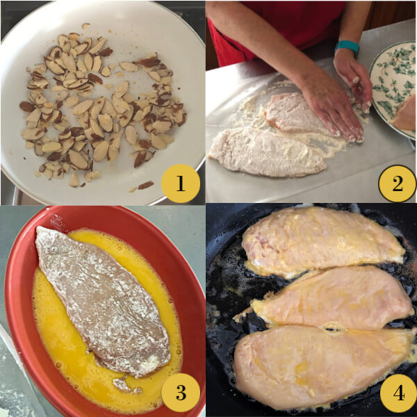 Collage of the first four steps to making Chicken Francaise.