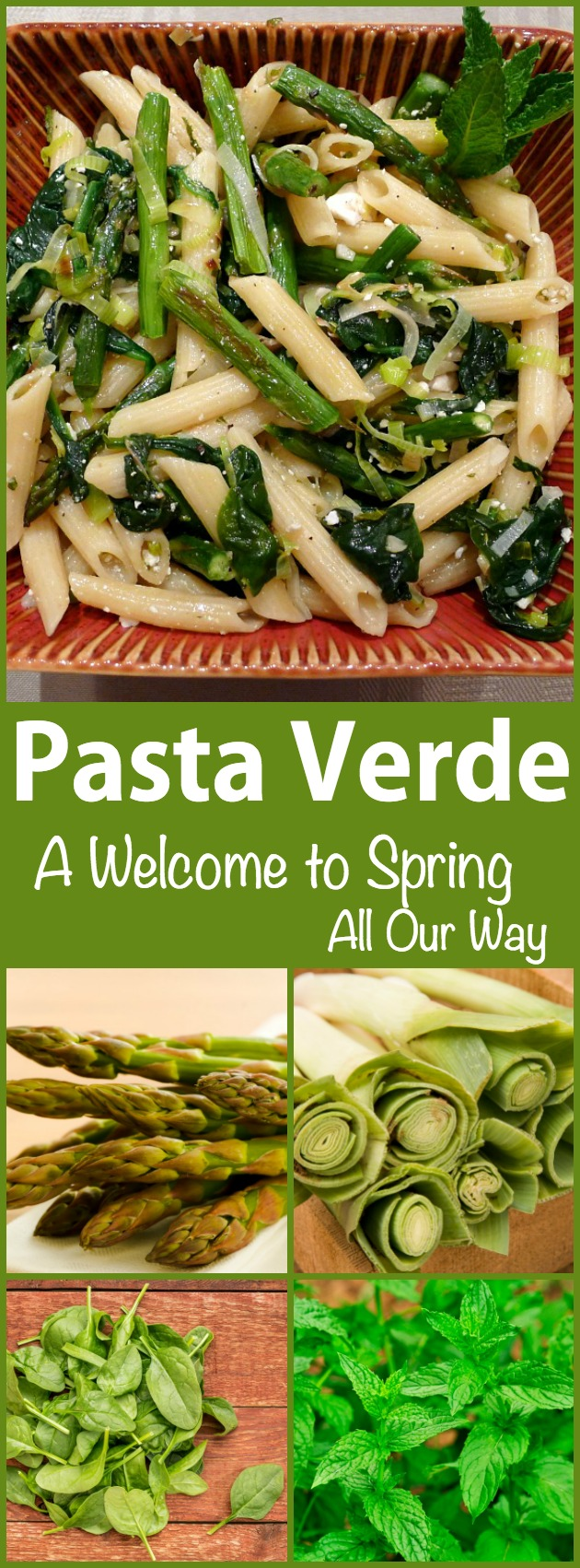 Pasta Verde or Green Pasta is loaded with springtime vegetables. Great on taste and low in calories.