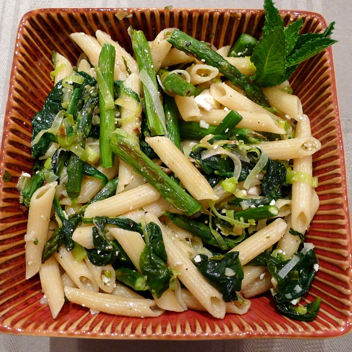 Pasta Verde or Green pasta is filled with springtime flavors of asparagus, spinach, leeks, and mint. A beautiful welcome to spring.