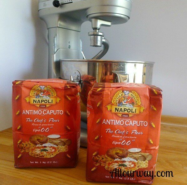 Caputo 00 flour on cutting board with Kitchen Aid Mixer.