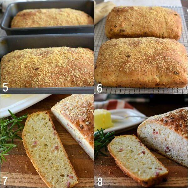 Collage of pizza bread with 4 steps to making it.