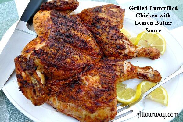 Butterflied chicken, grilled, basted with lemon butter sauce, resting