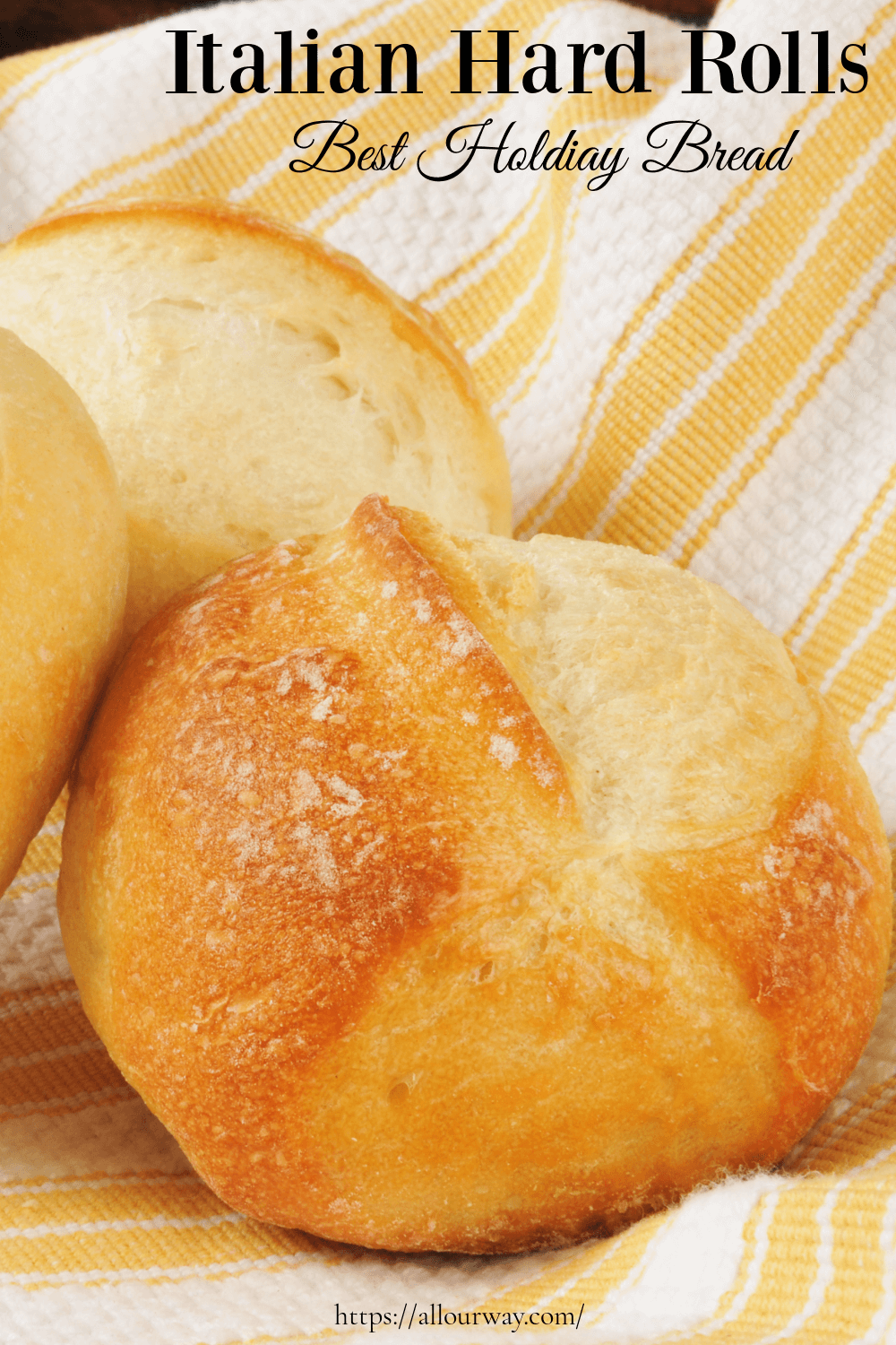 A light airy roll with a crunchy crackly crust. Does not use a lot of yeast, instead it relies on extra-long fermentation for flavor development. It's the perfect dinner roll to serve at a holiday meal. Not sweet, just plenty of rich bread flavor. #dinnerrolls, #hardrolls, #Italianhardrolls, #crustyrolls, #holidaybuns, #yeastbuns, #yeastrolls