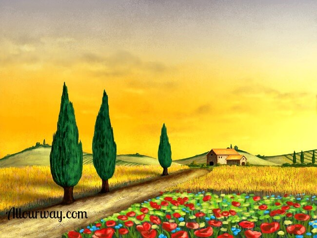 Tuscan scene, cypress tress, poppies, farm house.