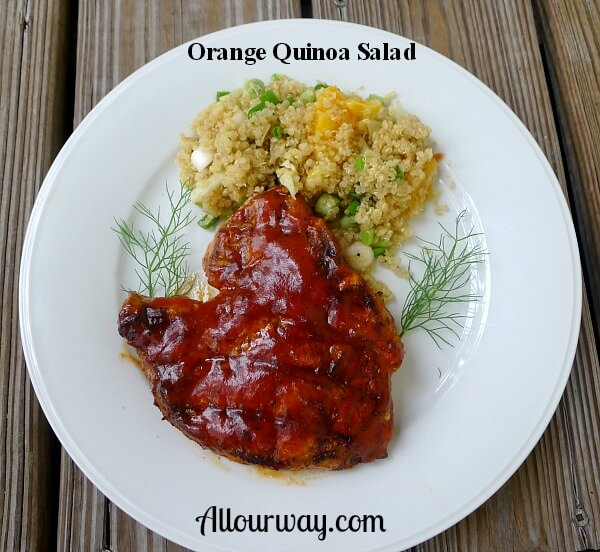 Round white plate with grilled Pork Chop slathered with red barbecue sauce and orange quinoa salad with sprigs of green fennel fronds on both sides of the plate.