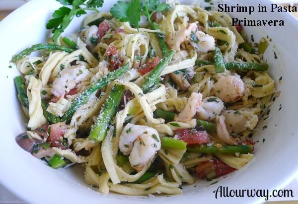 pasta, primavera, shrimp, fresh herbs